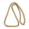 304 Stainless Steel Cuban Link Chain Necklaces and Bracelets Jewelry SetsSJEW-O065-B-04G-3