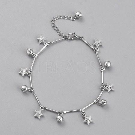 Brass Textured Star Charm AnkletsAJEW-B005-04P-1