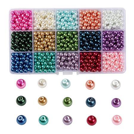 15 Colors Glass Pearl BeadsHY-X0010-6mm-01-1