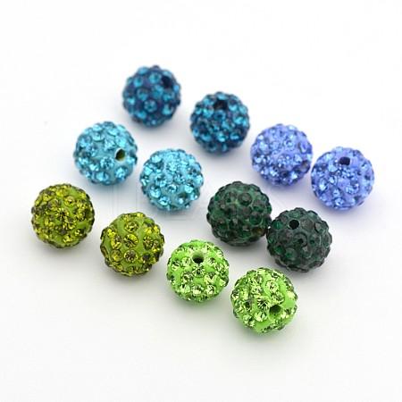 Round Pave Disco Ball Polymer Clay Rhinestone BeadsRB-X0003-03-1