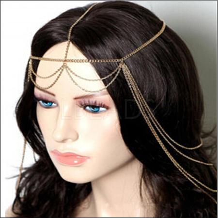 Bohemian Women Tassel Head ChainX-OHAR-WH0002-03G-1
