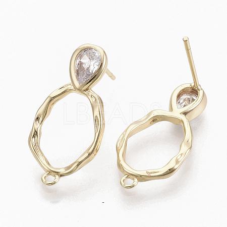Brass Cubic Zirconia Stud Earring FindingsX-KK-S354-230-NF-1
