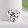 Tibetan Style Carved Heart Zinc Alloy BeadsX-TIBEB-M028-01AS-1