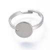 Adjustable 304 Stainless Steel Pad Ring SettingsX-STAS-S064-11-1