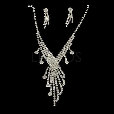 Fashionable Wedding Rhinestone Necklace and Stud Earring Jewelry SetsSJEW-R046-10-1