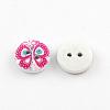 2-Hole Flower Pattern Printed Wooden ButtonsX-BUTT-R033-021-2