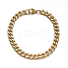 304 Stainless Steel Cuban Link Chain Necklaces and Bracelets Jewelry SetsSJEW-O065-B-04G-4