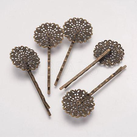 Antique Bronze Flower Brass Hair Bobby Pin Vintage Filigree FindingsX-KK-G037-AB-1