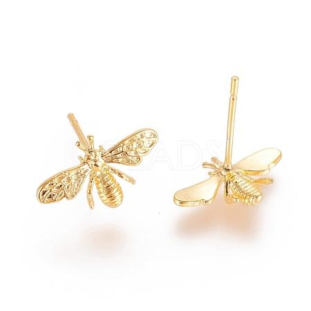 Brass Stud EarringsX-KK-T038-285G-1