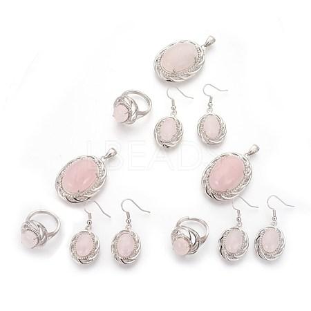 Natural Rose Quartz Jewelry SetsSJEW-P156-01-1