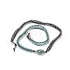 Three Loops Natural Green Aventurine Beads Wrap BraceletsBJEW-JB04247-03-4