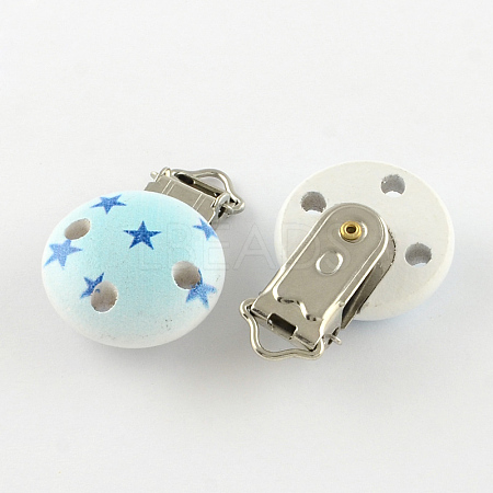 Flat Round Printed Wooden Baby Pacifier Holder Clip with Iron ClaspWOOD-R251-11E-1
