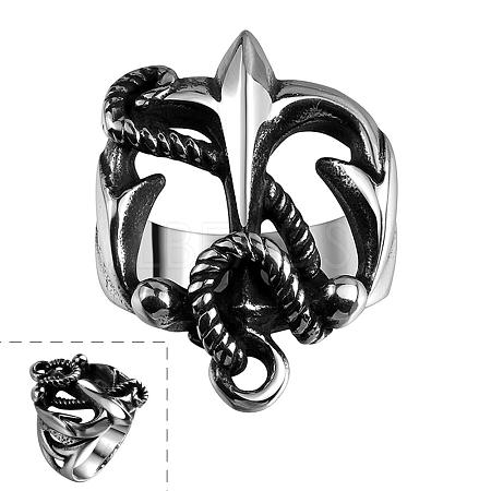 Punk Rock Style 316L Surgical Stainless Steel Hollow Anchor Finger Rings for MenRJEW-BB06640-8-1