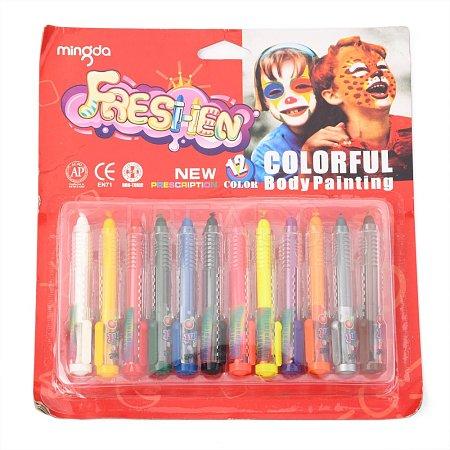 12 Colors Rotation Face Paint CrayonsAJEW-B007-01-1
