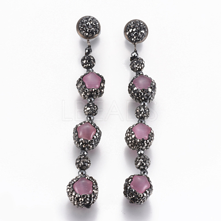 Cat Eye Dangle Stud Earrings EJEW-K075-A03-1
