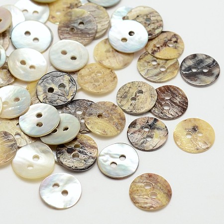 2-Hole Flat Round Mother of Pearl Buttons X-SHEL-N033-06-10mm-1