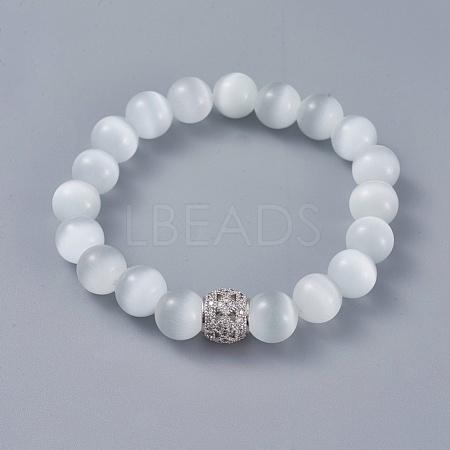 Cat Eye Round Bead Stretch BraceletsBJEW-L037-10A-1