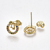 Brass Micro Pave Cubic Zirconia(Random Mixed Color) Ear StudsEJEW-S201-93-2