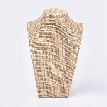Wooden Covered with Imitation Burlap Necklace DisplaysNDIS-K001-B16-1