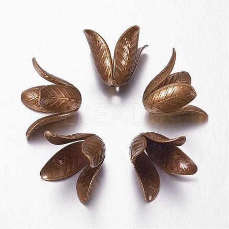 Antique Bronze 4-Petal Brass Flower Bead CapsX-KK-M010-02AB-NR-1