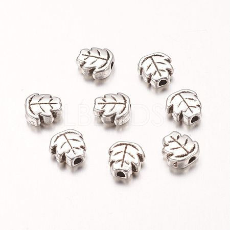 Antique Silver Tone Vintage Style Metal Alloy Leaf Beads X-PALLOY-H989-AS-1