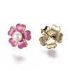 Brass Enamel Stud Earrings EJEW-K079-11-3