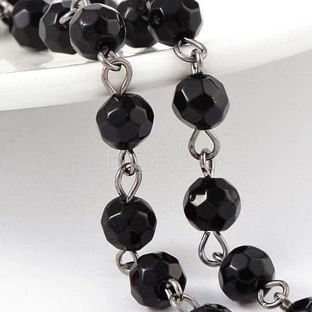 Handmade Faceted Round Transparent Glass Beads Chains for Necklaces Bracelets MakingX-AJEW-JB00153-03-1