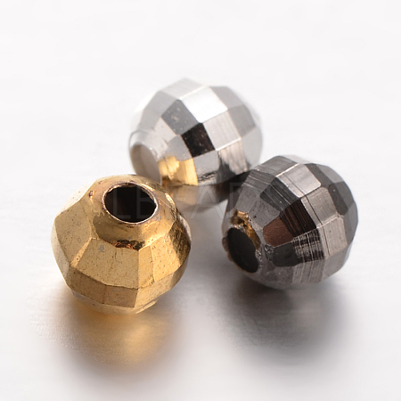 Faceted Round Brass Spacer BeadsKK-L129-52-1