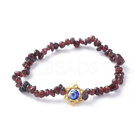 Chips Natural Garnet Stretch Bracelets BJEW-JB04700-04-1