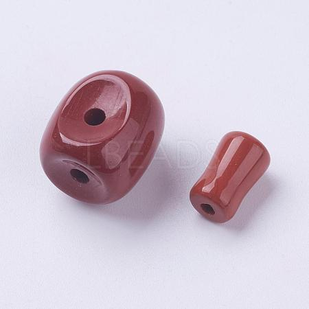 Natural Red Jasper 3 Hole Guru Beads G-K218-02-1