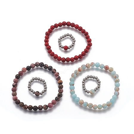 Natural & Synthetic Mixed Stone Jewelry SetsSJEW-H584-20-1