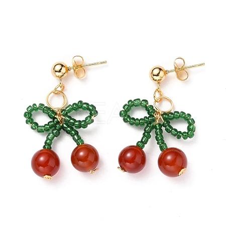 Cherry Dangle Stud EarringsX-EJEW-JE04339-1