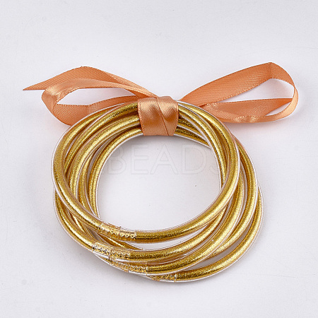 PVC Plastic Bangle Sets BJEW-T008-09G-1