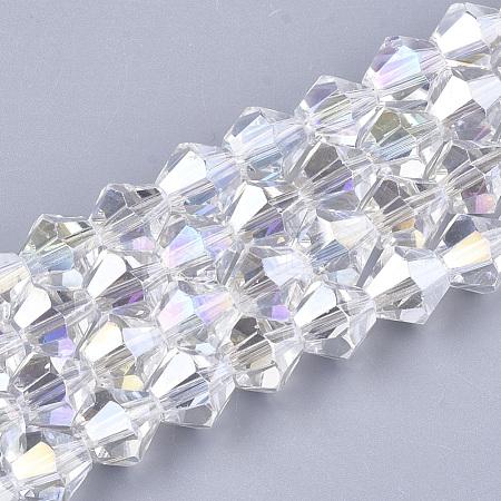 Electroplate Glass Beads StrandsEGLA-Q118-6mm-B17-1