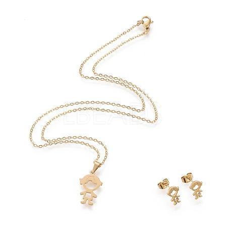 304 Stainless Steel Jewelry SetsX-STAS-K196-17G-1