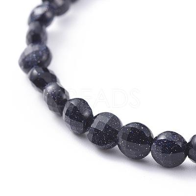 Synthetic Blue Goldstone Stretch BraceletsBJEW-JB04661-01-1