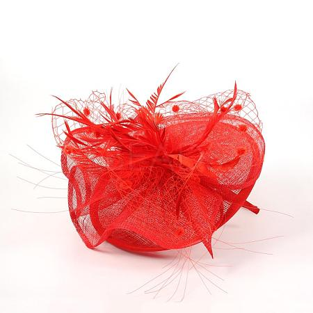 Elegant Red Fascinators UK for WeddingsOHAR-S170-01-1